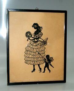 Scherenschnitt-gerahmt-hinter-Glas-Bild-im-schwarzem-Holzrahmen-31-x-25-cm