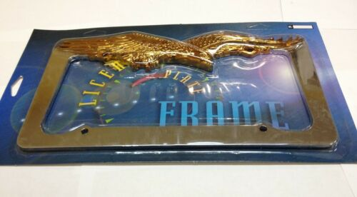 EAGLE CHROME//GOLD METAL LICENSE PLATE FRAME  LPF-476C//G