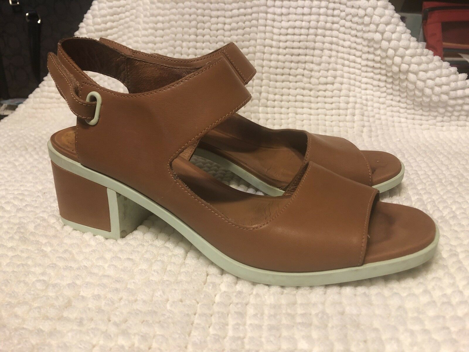 Camper Women's Leather Rubber Beige Sling Back Sandals Size 41  22527-001 Maude