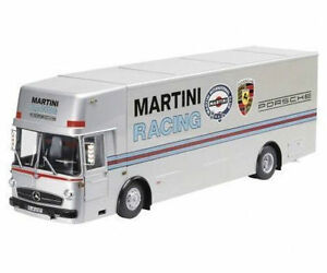 1-18-Schuco-Mercedes-Benz-O317-Porsche-Transportador-de-carrera-MARTINI-RACING