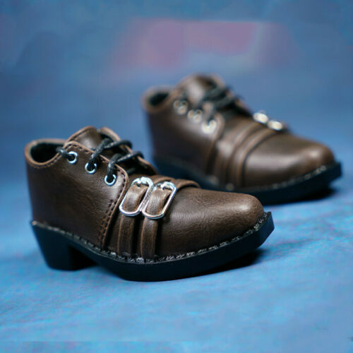 1//3SD Uncle ID BJD Suit Shoes Retro Brown Leather Shoes Double Buckle Mature Man