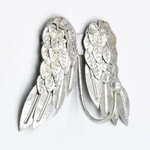Argento-Abbastanza-Angel-Wings-Cherubini-Ala-Ganci-appendi-cappotto-Appendiabiti