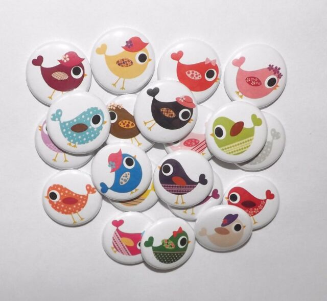 "Cute Birdie  1"" flat back Buttons.(set of 15)"