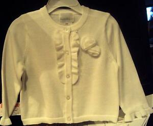 Toddler Girls Chaps Brand White Dress Sweater Pink Rose Button Size 3T