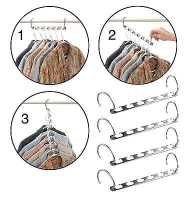 2pc Metal Cascade Wardrobe Closet Bar Clothes Hanger Coat Organizer Space Saver