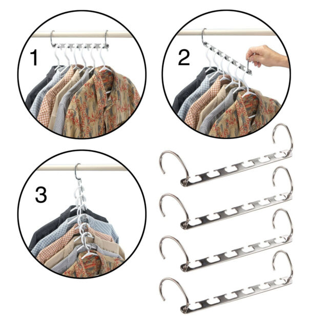 Metal Cascading Hangers 2pk Space Saver Closet Organizer Clothes Tie Belt  Rack