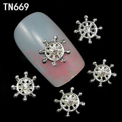 10pcs 3D Metal Crystal Gold Silver Rudder Nail Art Tip Decorations DIY Jewelry