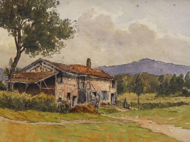 Henri Linguet (1881-1914) Watercolour Landscape Solid Mountain Museum Auxerre