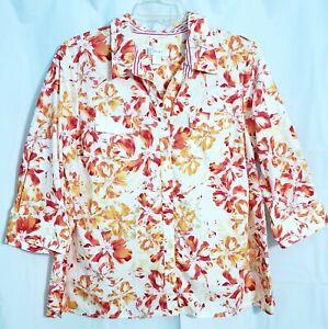 CJ-Christopher-amp-Banks-2X-Womens-Plus-Size-Floral-Button-Down-Shirt-Top-3-4-Slv