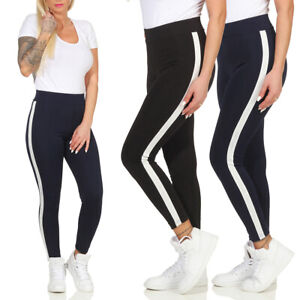 Damen Stretch Hose Jeans-Look Gestreifte Leggings Leggins Treggings Jeggings NEU