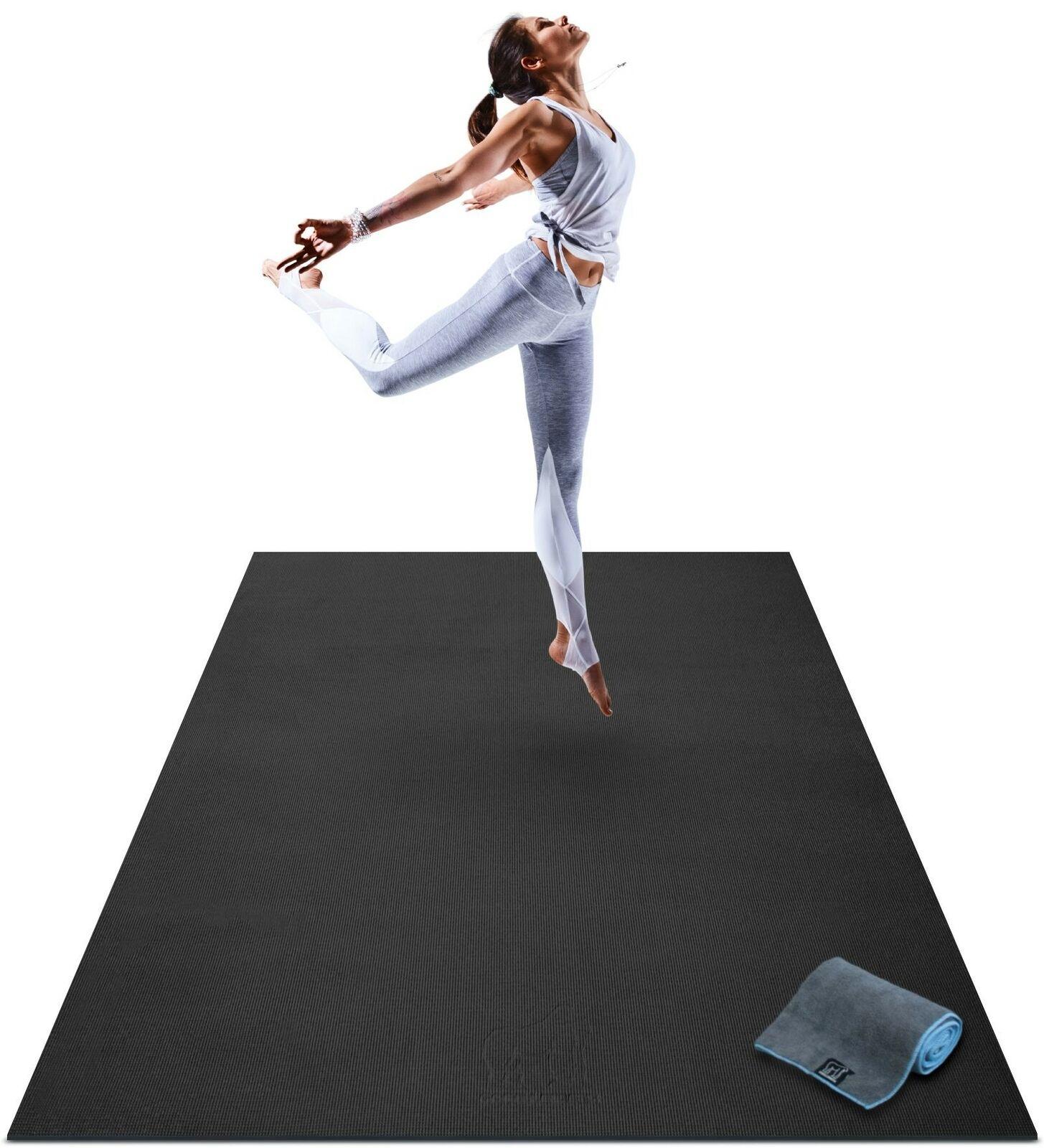 Premium Extra Large Tapis de Yoga - 6' x 4' X 8 mm extra épais & Confortable schwarz