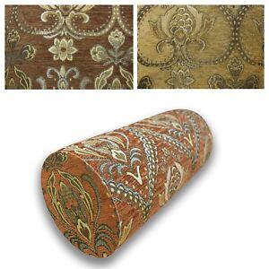 Bolster Cover*Damask Chenille Neck Roll Tube Yoga Massage Pillow Case Custom*Wk3