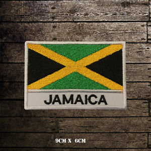 JAMAICA-Flag-With-Name-Embroidered-Iron-On-Sew-On-Patch-Badge-For-Clothes-Etc