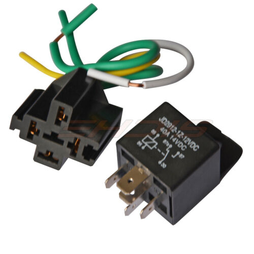 40A Relay12V//24V /& Wire Socket Switch 5-Pin SPDT Relay Starter for Auto Vehicle