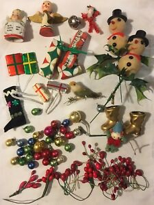Vtg-Lot-Christmas-Corsage-Planter-Mercury-Beads-Spun-Cotton-Millinery-More