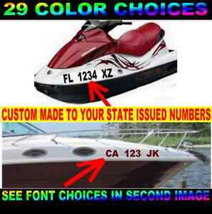Boat Registration Numbers Sticker Decal 3 Hull Id Jet Ski Pwc Single Or Set Ebay