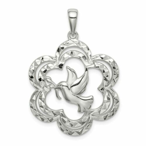 Sterling Silver Diamond-Cut Colombe Charme Pendentif PDSF $85