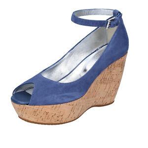 Details about Women's shoes HOGAN 5.5 (EU 35,5) pumps blue suede BK648-35,5