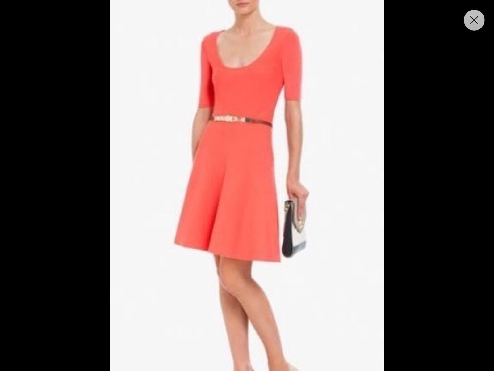 298 NWT BCBG MAXAZRIA MADISYN CORAL A-LINE KNIT DRESS L   LARGE