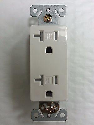 (10 pc) 20A Decorator Duplex Receptacle Tamper Resistant White 20 Amp Decora TR