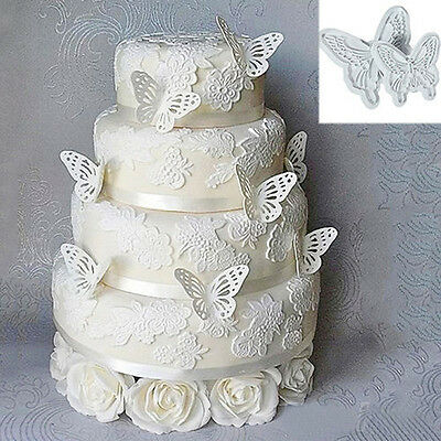 2X New Butterfly Cake Fondant Decorating Sugarcraft Cookie Plunger Cutters Mold+