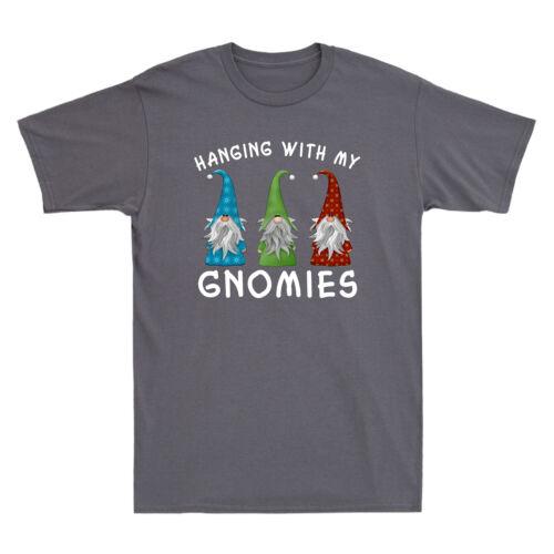 Noël Suspendu avec mon Gnomies Drôle Cadeau Vintage Men/'s T-shirt en coton