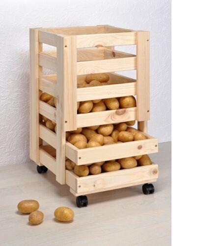 Pomme De Terre Caisse Panier de fruits avec roulettes rangement caisse légumes Boîte pin