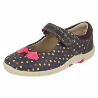 Clarks 'binnie Dots' Girls Anthracite Leather Casual Shoes Fit