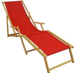 Liegestuhl Holz Mit Fußteil.Details Zu Liegestuhl Holz Sonnenliege Gartenliege Rot Deckchair Fußteil Hell 10 308 N F