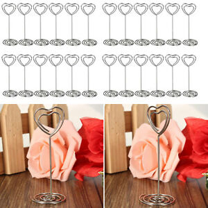 40pcs Heart Shape Name Table Numbers Place Card Holder Clips For Wedding Party