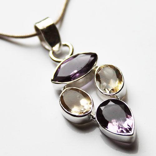 925 Sterling Silver Semi-Precious Natural Stone Pendant - Amethyst & Quartz