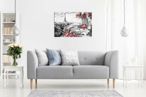 Abstract Floral Summer Paris Black /& White Red Canvas Wall Art Picture Print