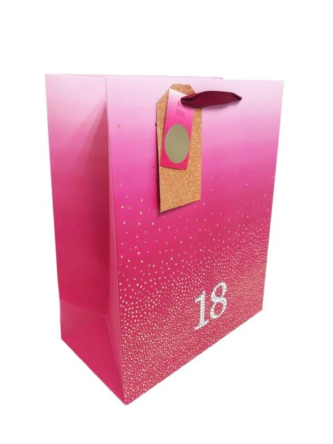 18th Birthday Bag Gift Large Age Girls Pink Luxury Present Wrapping 18 Diamante For Sale Online