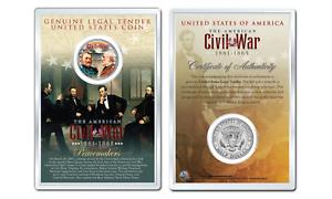 American CIVIL WAR GENERALS GRANT LEE JFK Half Dollar Coin w//PREMIUM 4X6 DISPLAY