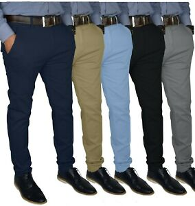 Mens-Slim-FIT-Stretch-Chino-Trousers-Casual-Flat-Front-Flex-Full-Pants