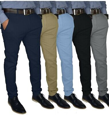 2792bb47 Mens Slim FIT Stretch Chino Trousers Casual Flat Front Flex Full Pants |  eBay
