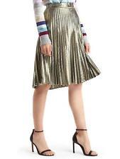 "GAP Gold Metallic Pleated A Line Skirt 10 M 31"" NWT"