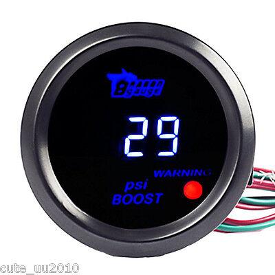 "2/"" 52mm Car Universal Digital Turbo Boost Gauge Meter Blue LED Black Cover PSI"