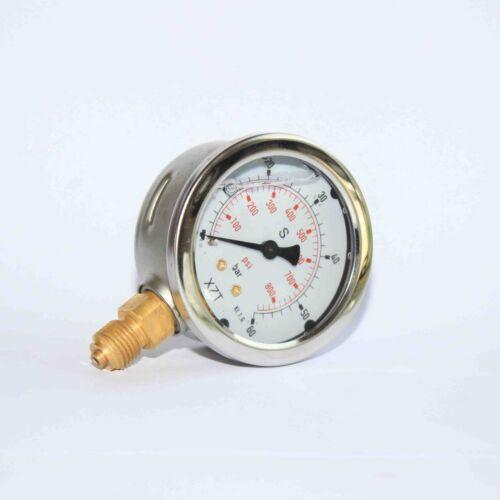 G1//4 63mm Hydraulic Pressure Gauge Base Entry 0-60BAR//900PSI