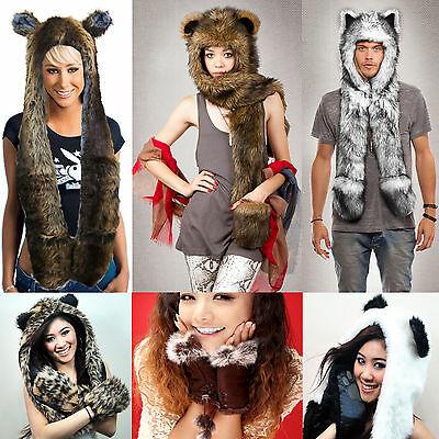 c55c70a44 Faux Fur Winter Hat Animal Wolf Hood Scarf Gloves Ladies Girls Mens ...