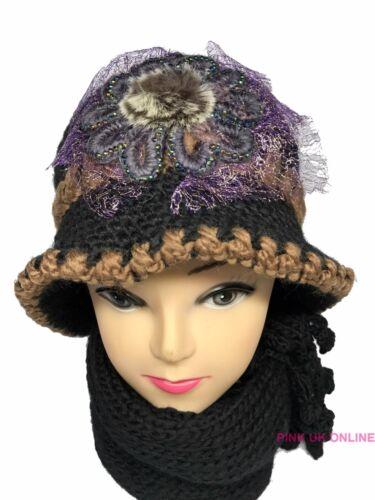 NUOVO Donne Ragazze A Maglia Pelliccia Sint Woolen Cloche Cappello E Sciarpa Set Caldo Inverno