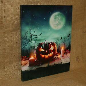 Lighted-Canvas-Jack-o-Lantern-Pumpkins-Candles-Moon-Bats-Fall-Autumn-Halloween