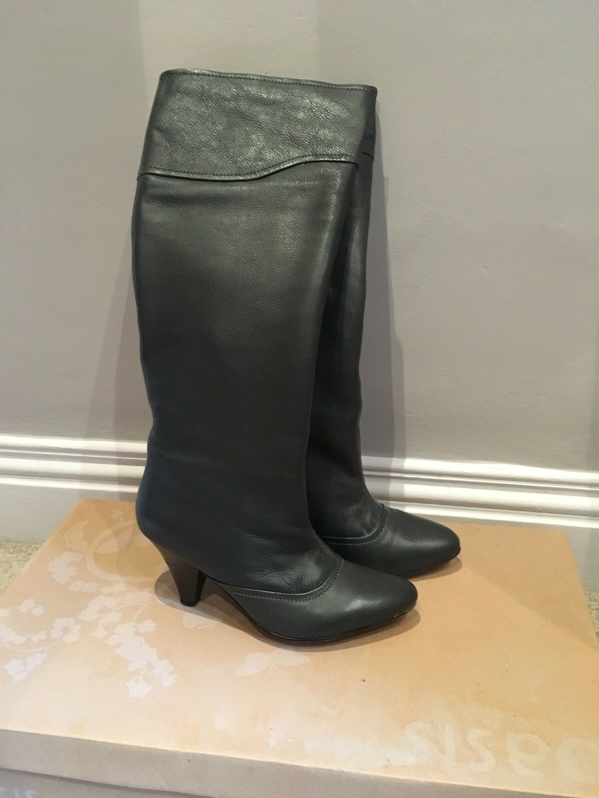 Dark Grey Leather Boots - Oasis