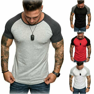 Men-039-s-Casual-Gym-Summer-Slim-Fit-Short-Sleeve-Muscle-Tee-Tops-T-shirt-Blouse