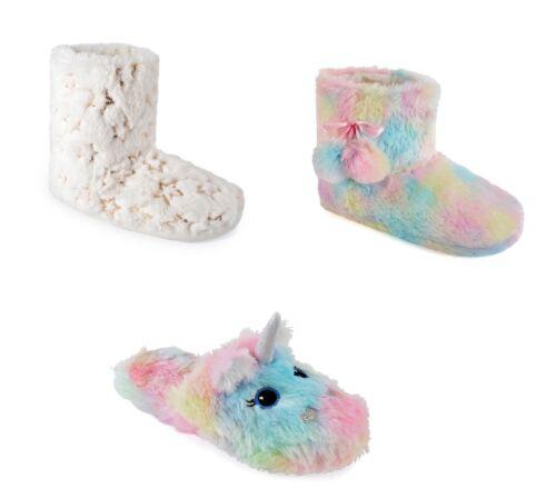 Ladies Slippers Plush Bootee Mule Unicorn Rainbow Comfy Indoor Slippers UK 3-8