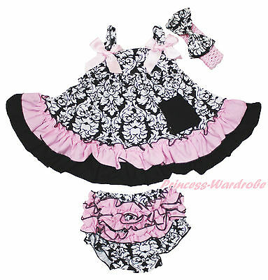 Light Pink Damask Halter Swing Top Infant Baby Girl Bloomer Accessory Set NB-2Y