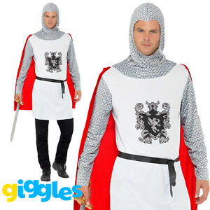 Medieval Knight King Arthur Crusader Economy Adults Mens Fancy Dress Costume