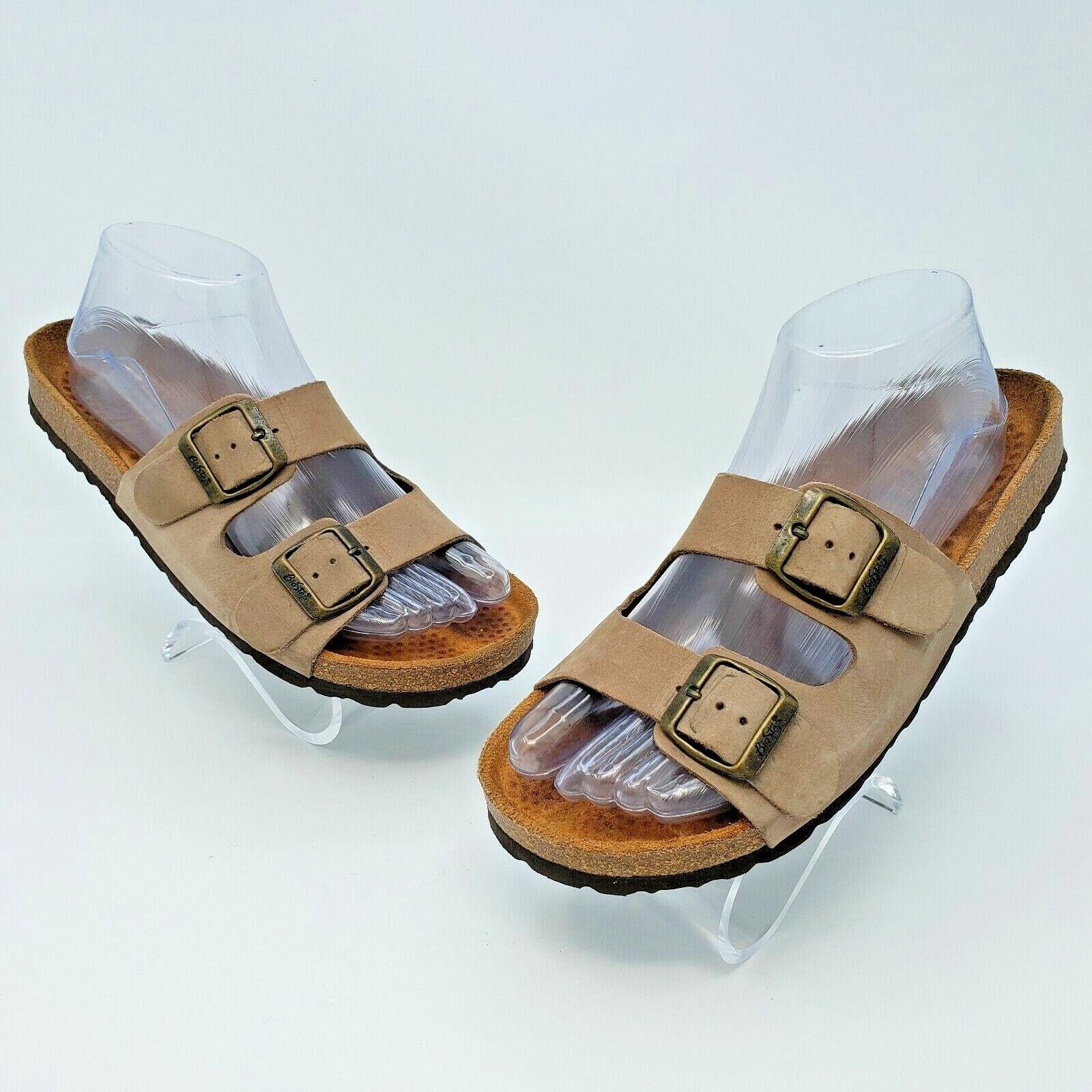 Biostep Femme Marron Clair En Daim Double Sangle Confort Sandales Made in Spain size 8 US