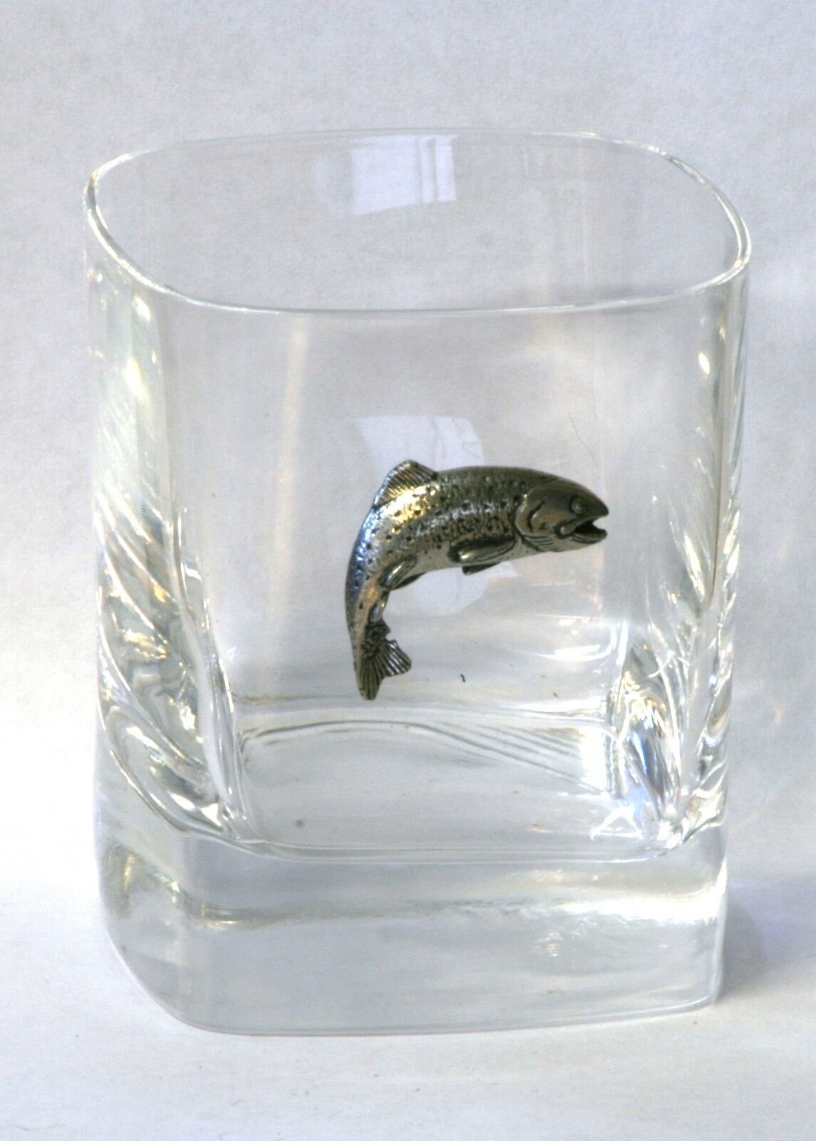Trout Pewter Motif Pair of Crystal Tumblers Presentation Box Fly Fishing Gift