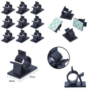 Adjustable Cable Clips Adhesive Nylon Wire Clamps Black 50 Pcs L9T7